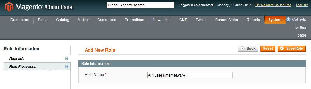 Magento: create API user account - Add New Role Name