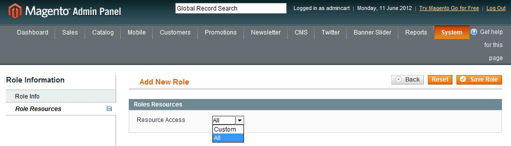 Magento: create API user account - Add New Role