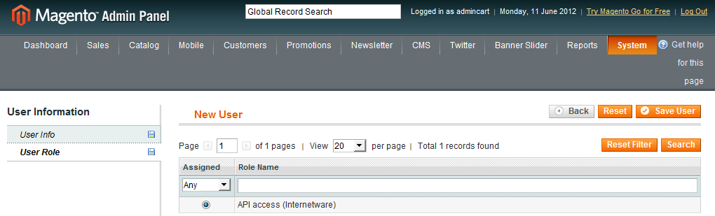 Magento: create API user account - add role to new API Services user account
