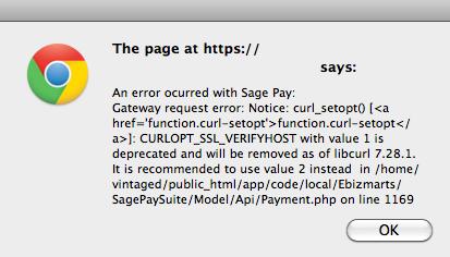 SagePay CURLOPT_SSL_VERIFYHOST error in Magento