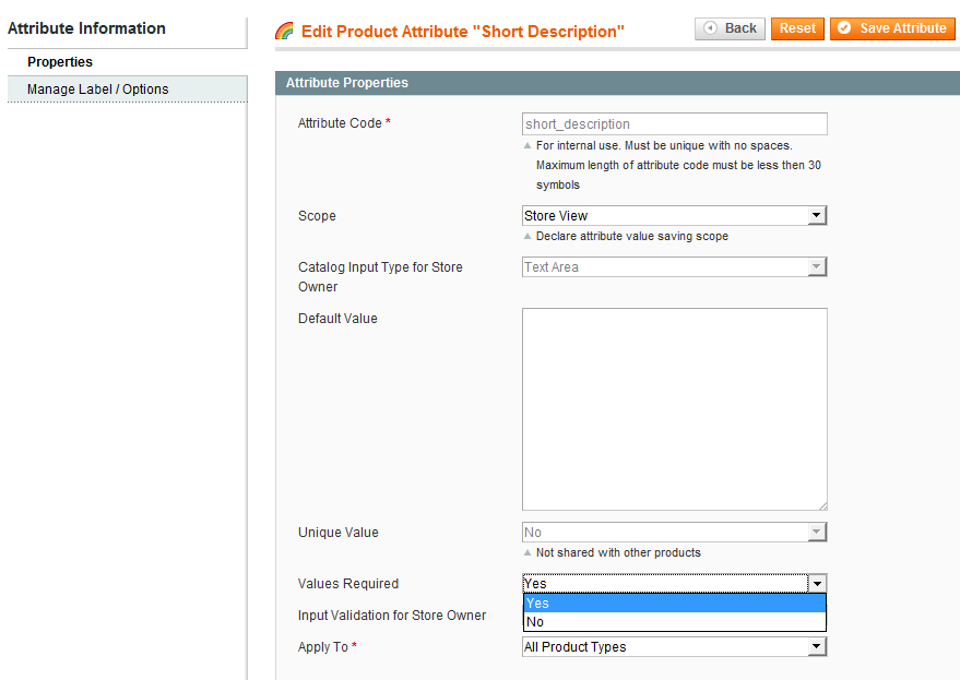 Turn Magento's short description off as a required field