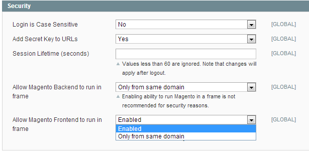Magento iframe embedding enabled!