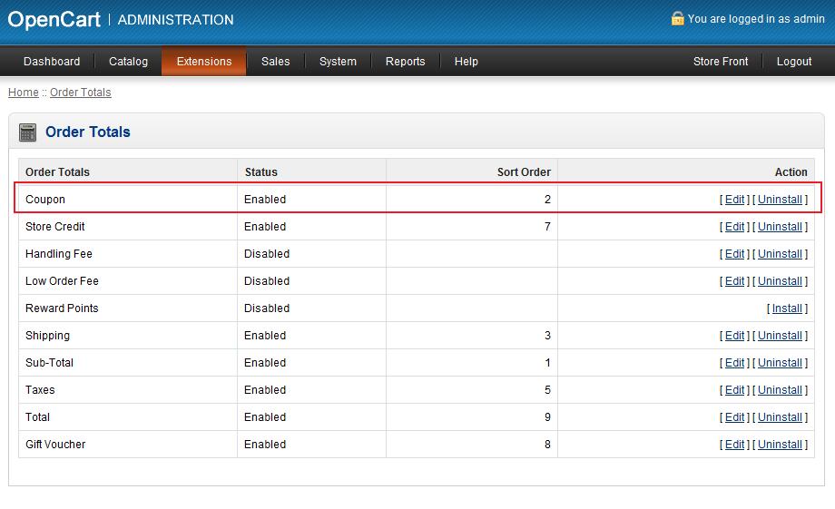 OpenCart 1.5 Extensions > Order Totals menu