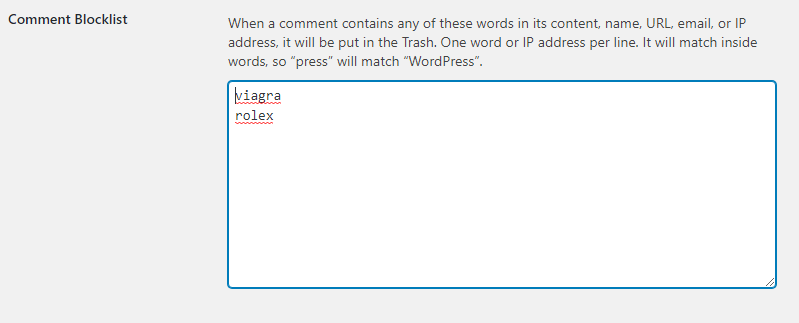 WordPress' Comment Blocklist feature for reducing spam
